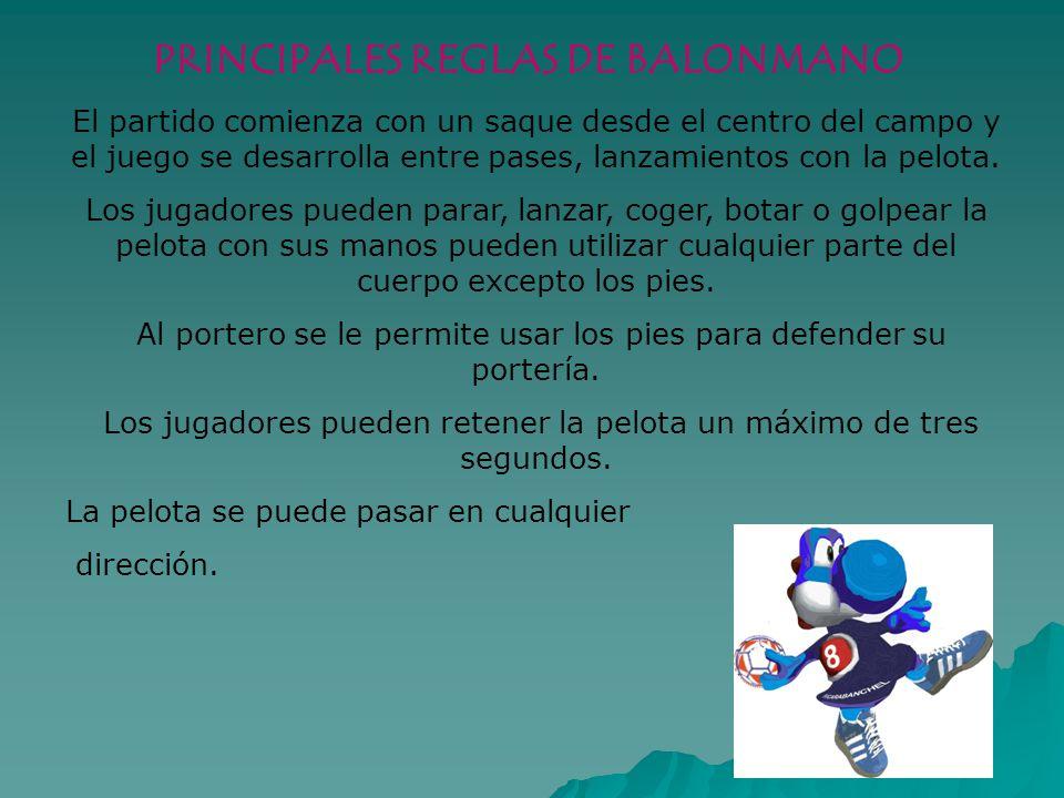 PRINCIPALES REGLAS DE BALONMANO