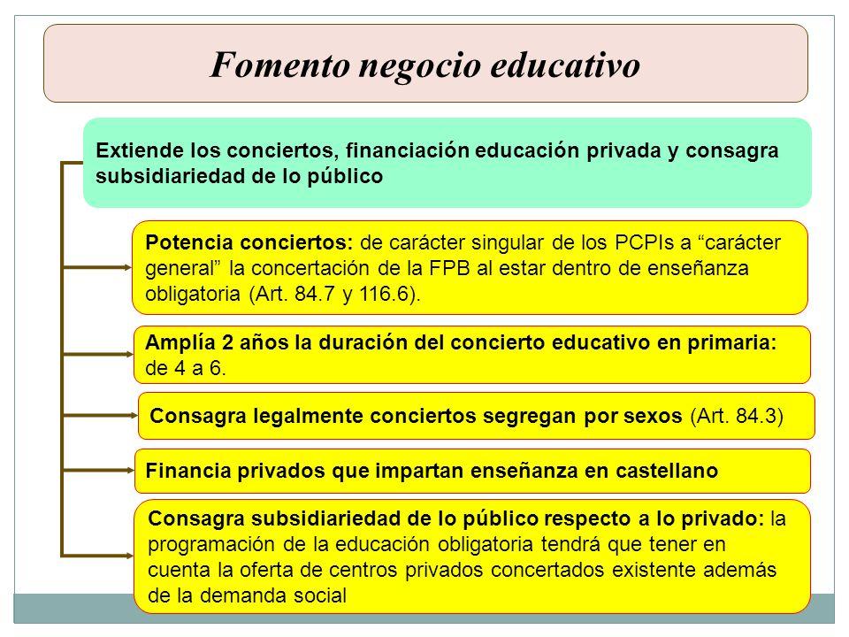 Fomento negocio educativo