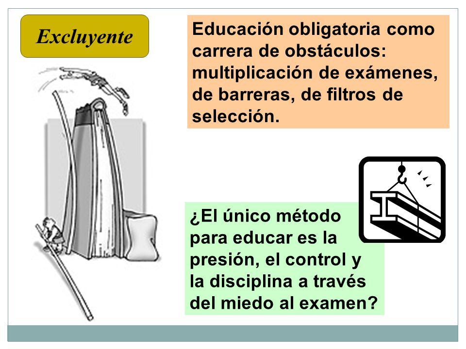 Excluyente Educación obligatoria como carrera de obstáculos: multiplicación de exámenes, de barreras, de filtros de selección.