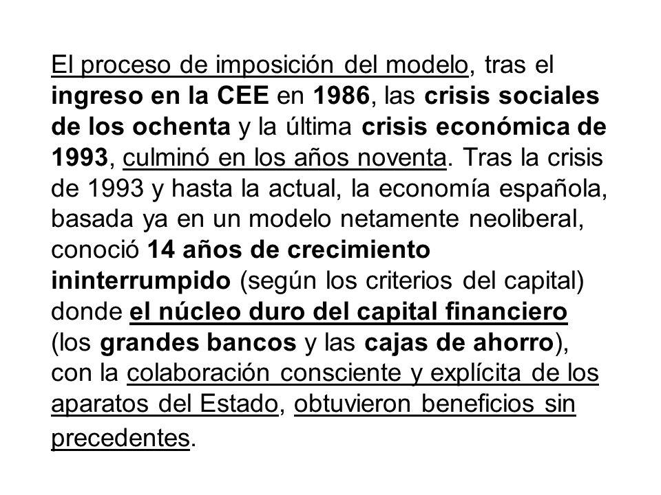 El proceso de imposición del modelo, tras el ingreso en la CEE en 1986, las crisis sociales de los ochenta y la última crisis económica de 1993, culminó en los años noventa.