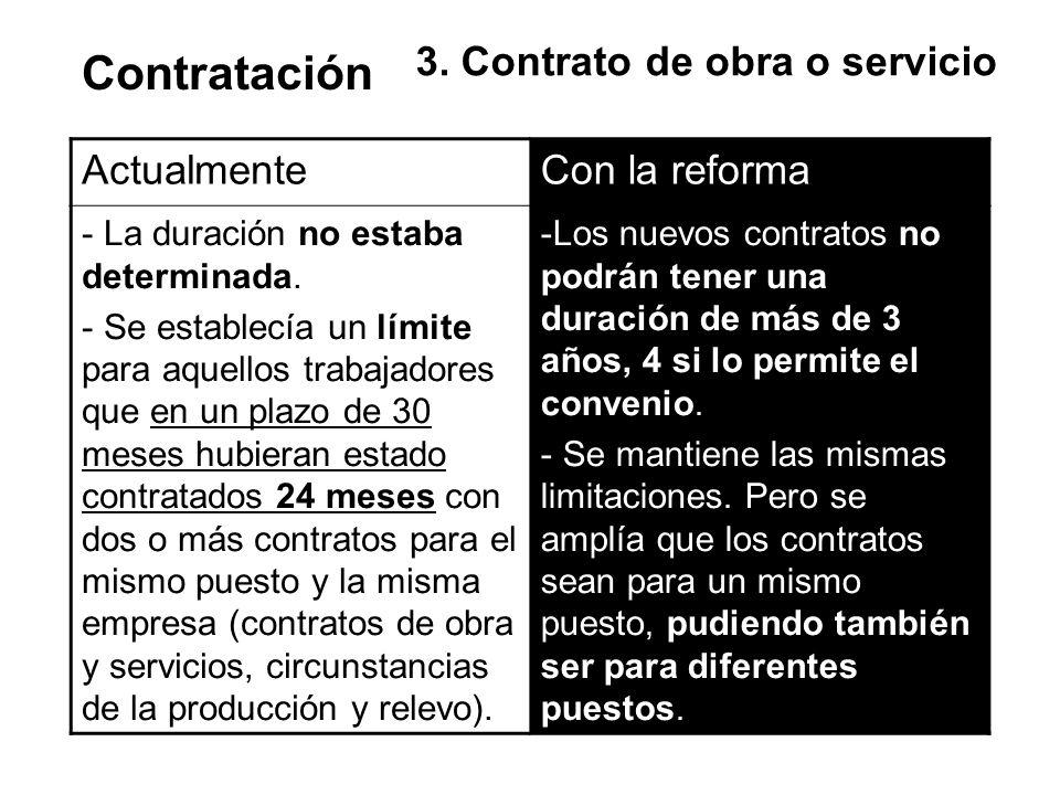 Contratación 3. Contrato de obra o servicio Actualmente Con la reforma