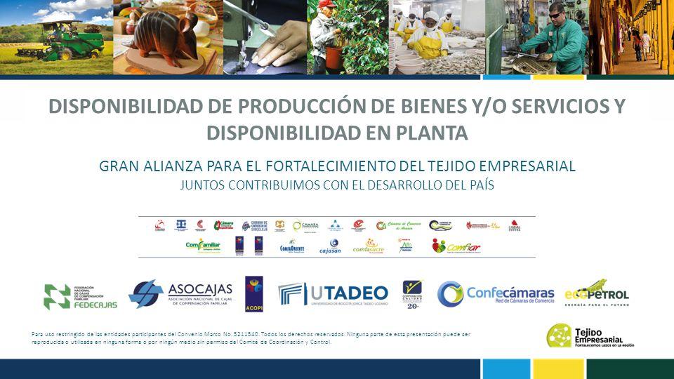 DISPONIBILIDAD DE PRODUCCIÓN DE BIENES Y/O SERVICIOS Y DISPONIBILIDAD EN PLANTA