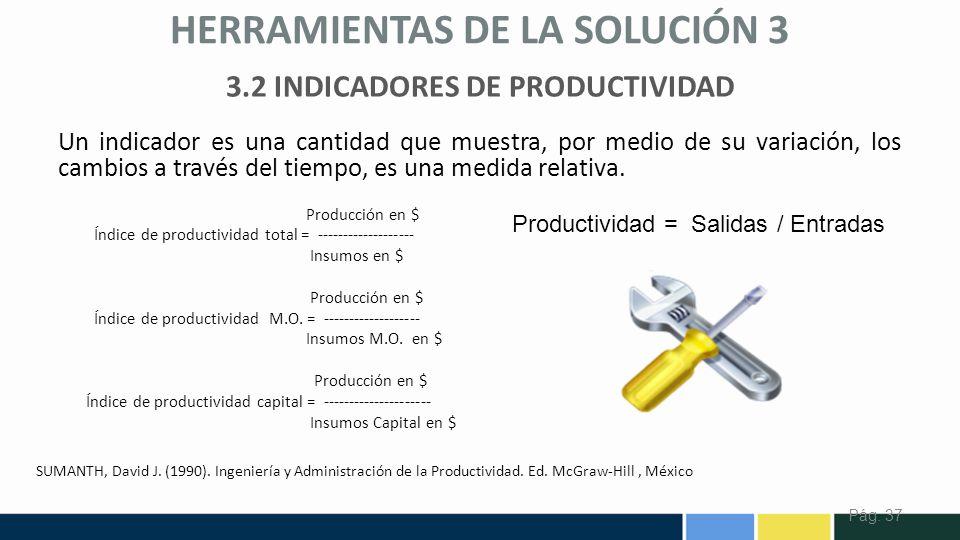 3.2 INDICADORES DE PRODUCTIVIDAD