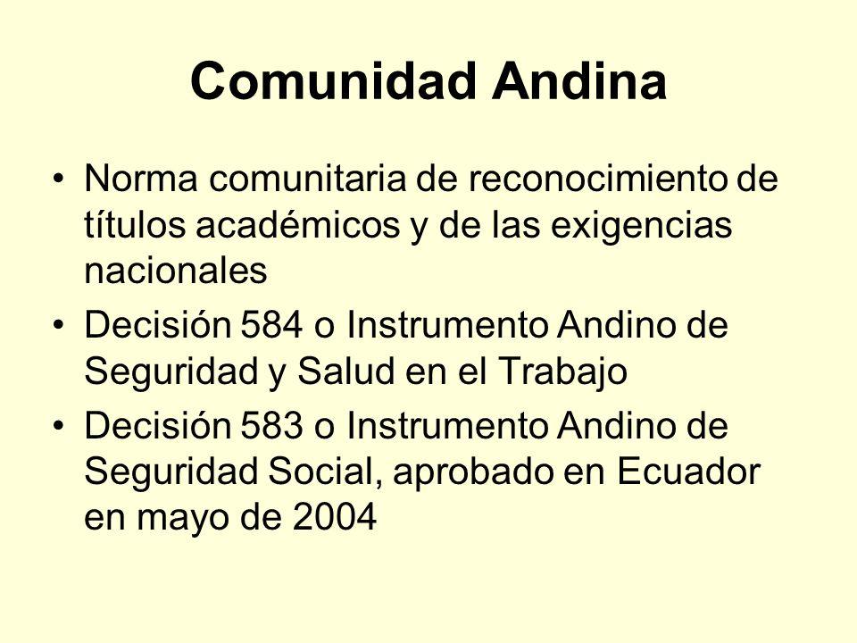 Comunidad Andina Norma comunitaria de reconocimiento de títulos académicos y de las exigencias nacionales.