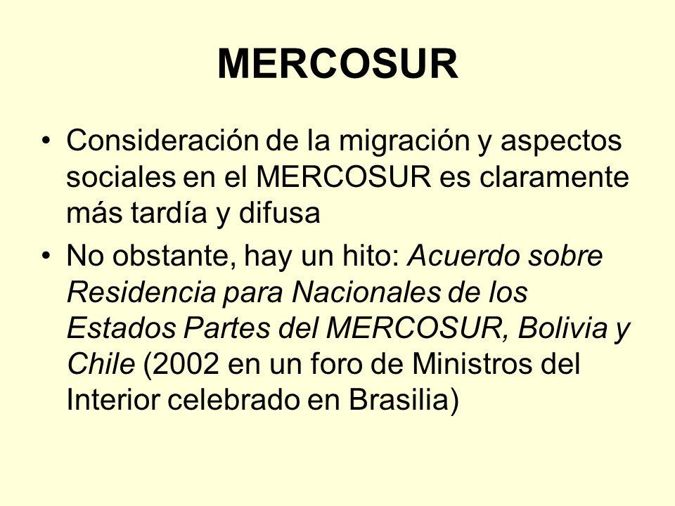MERCOSUR Consideración de la migración y aspectos sociales en el MERCOSUR es claramente más tardía y difusa.
