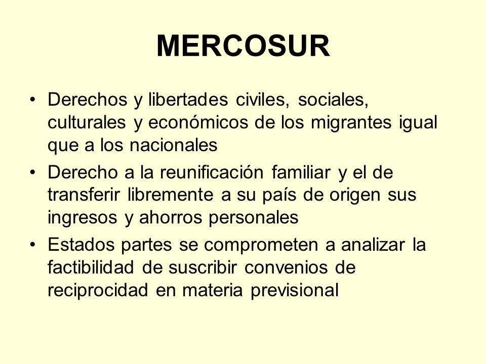 MERCOSUR Derechos y libertades civiles, sociales, culturales y económicos de los migrantes igual que a los nacionales.