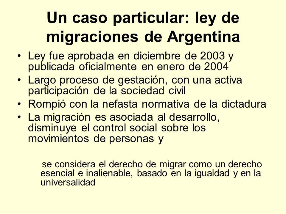Un caso particular: ley de migraciones de Argentina