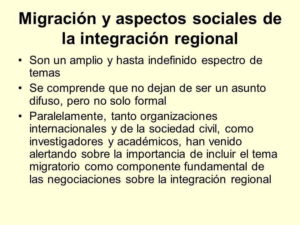 Migración y aspectos sociales de la integración regional