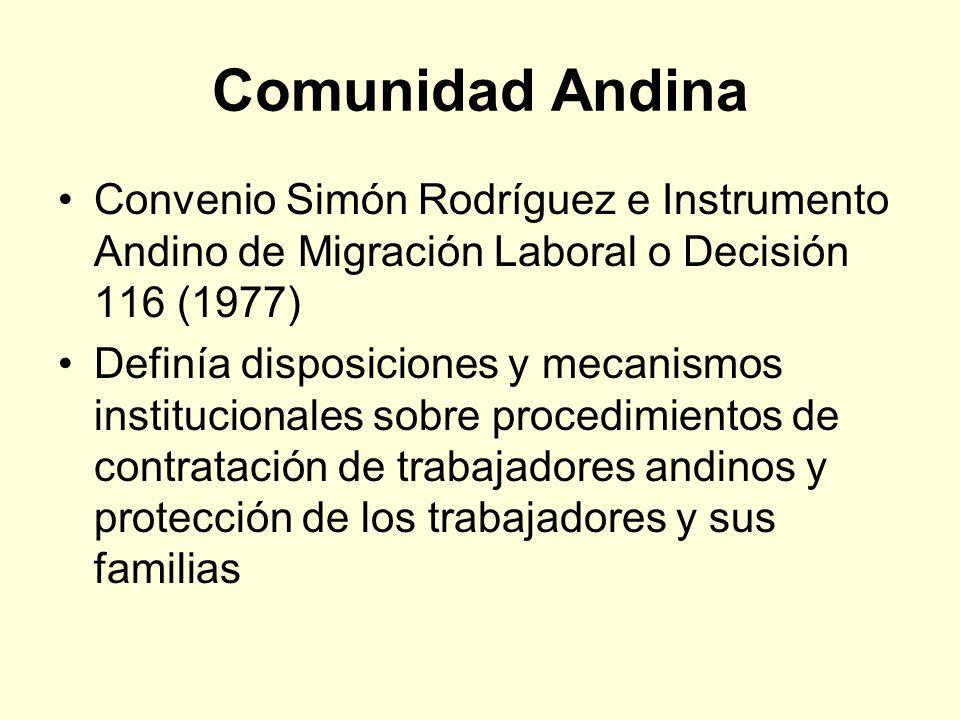 Comunidad Andina Convenio Simón Rodríguez e Instrumento Andino de Migración Laboral o Decisión 116 (1977)