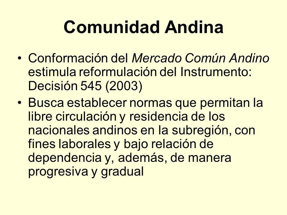 Comunidad Andina Conformación del Mercado Común Andino estimula reformulación del Instrumento: Decisión 545 (2003)
