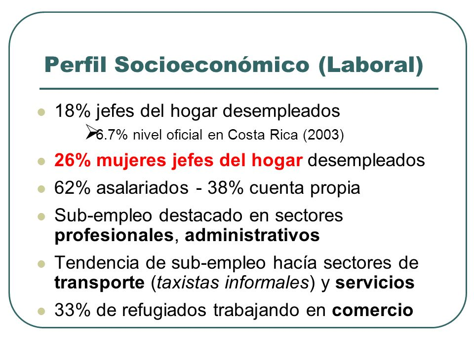 Perfil Socioeconómico (Laboral)