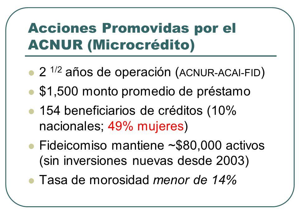 Acciones Promovidas por el ACNUR (Microcrédito)