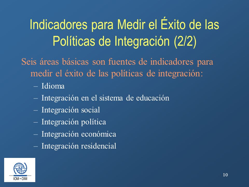 Indicadores para Medir el Éxito de las Políticas de Integración (2/2)