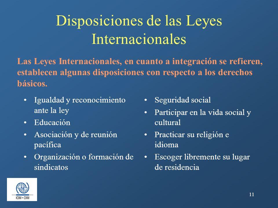 Disposiciones de las Leyes Internacionales