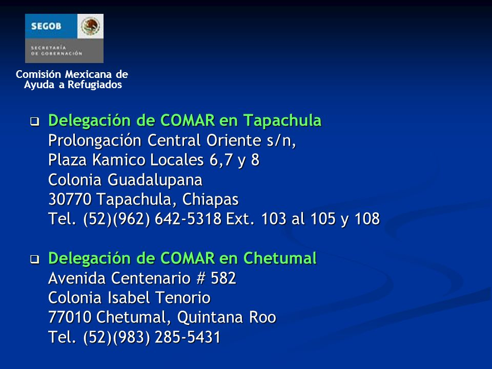 Delegación de COMAR en Tapachula