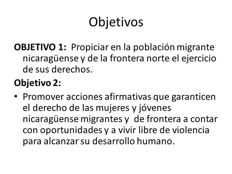 Objetivos OBJETIVO 1: Propiciar en la población migrante nicaragüense y de la frontera norte el ejercicio de sus derechos.