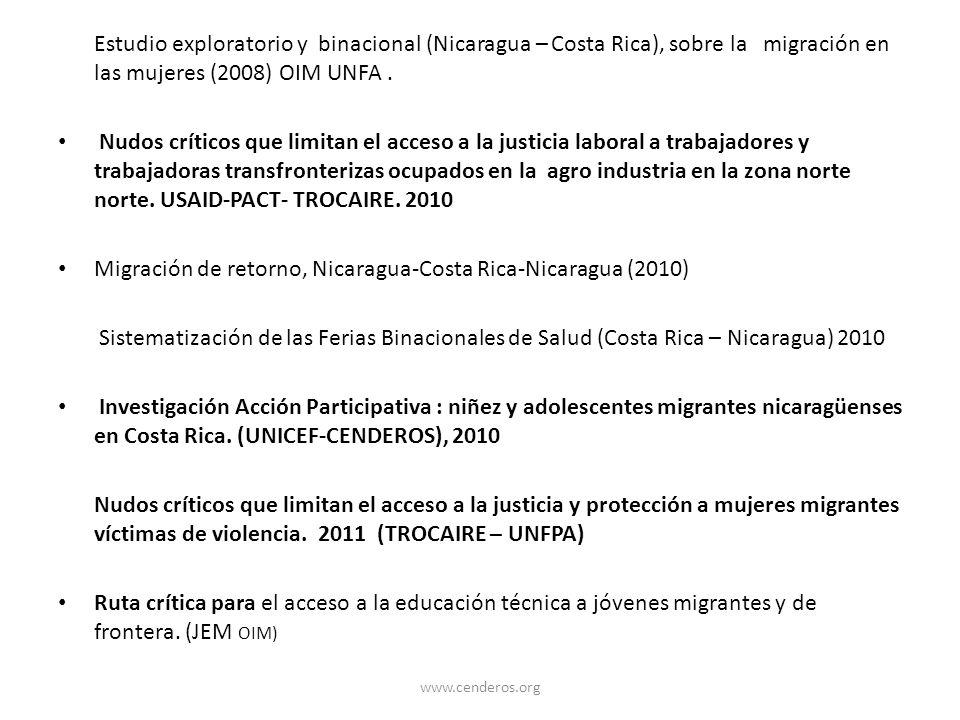 Migración de retorno, Nicaragua-Costa Rica-Nicaragua (2010)