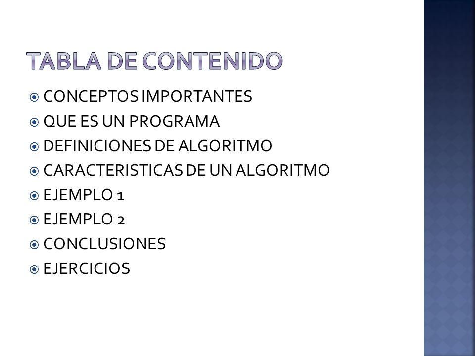 TABLA DE CONTENIDO CONCEPTOS IMPORTANTES QUE ES UN PROGRAMA