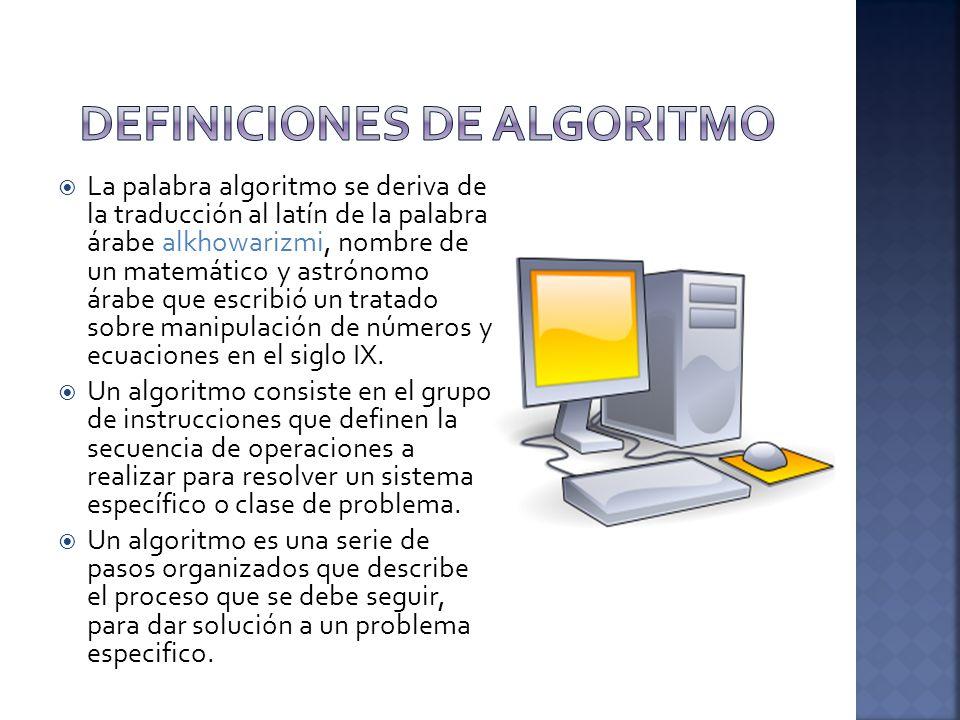 DEFINICIONES DE ALGORITMO