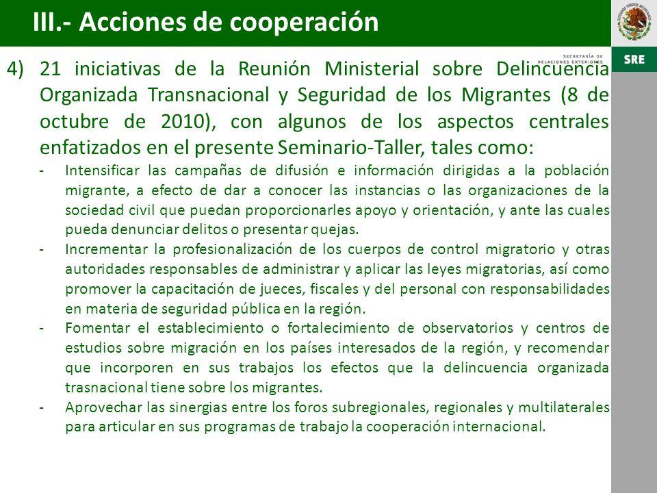 III.- Acciones de cooperación