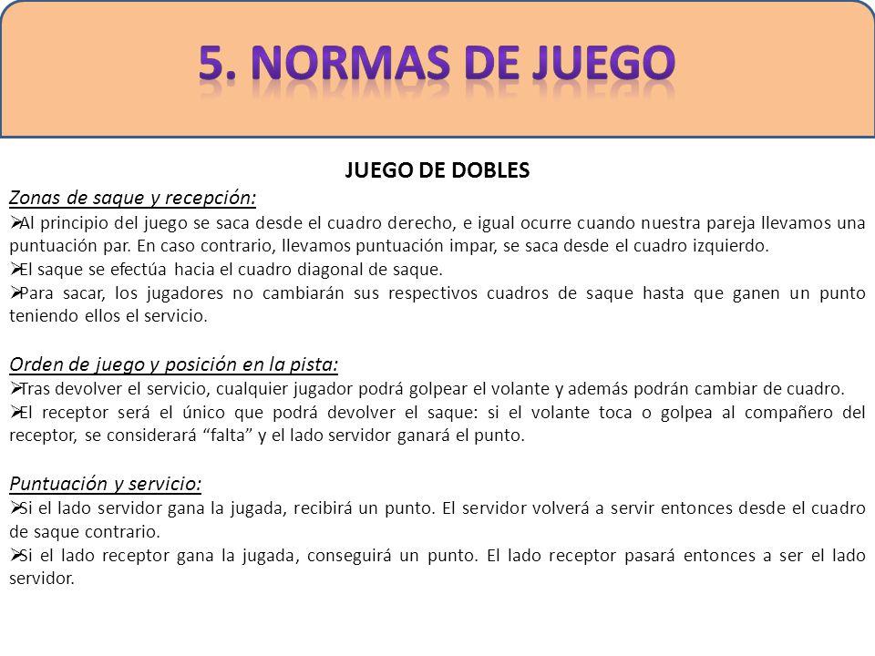 5. NORMAS DE JUEGO JUEGO DE DOBLES Zonas de saque y recepción: