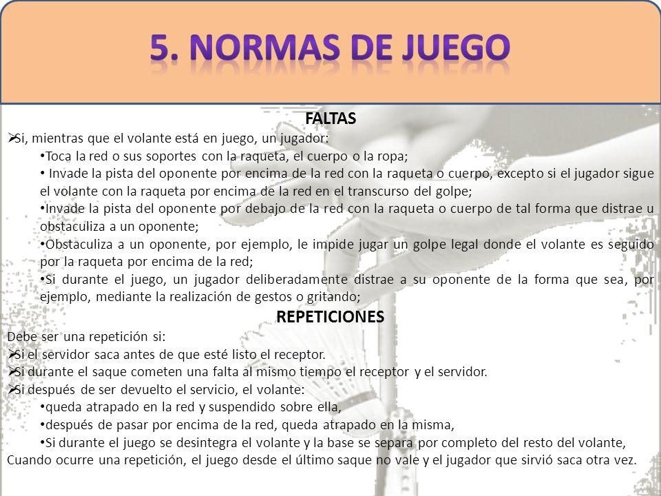 5. NORMAS DE JUEGO FALTAS REPETICIONES