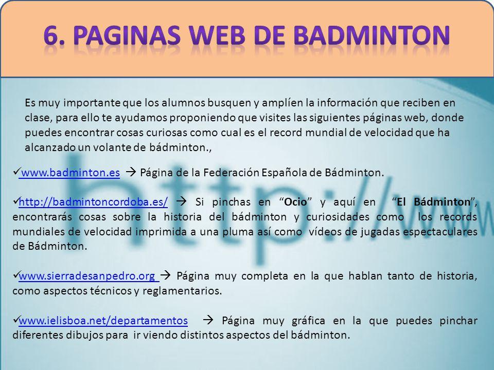 6. PAGINAS WEB DE BADMINTON