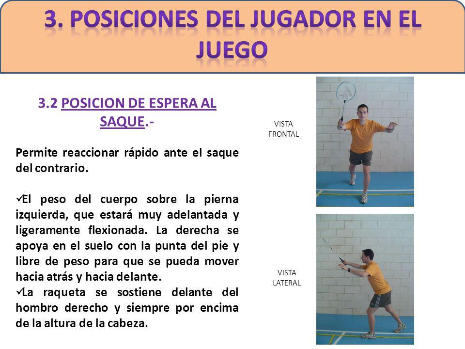3. POSICIONES DEL JUGADOR EN EL JUEGO