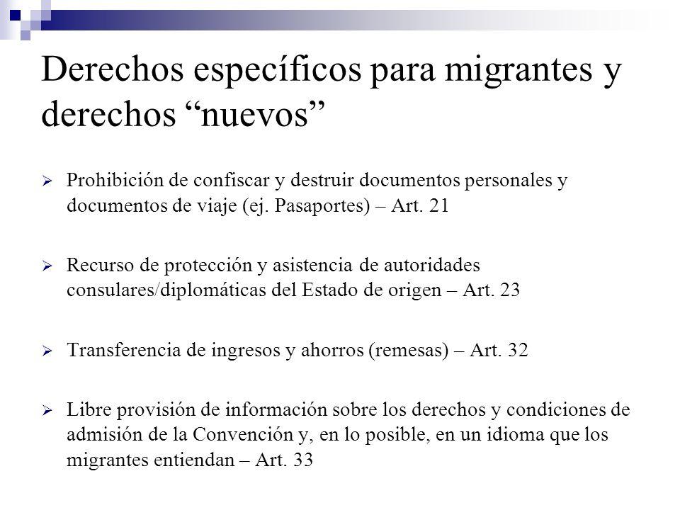 Derechos específicos para migrantes y derechos nuevos