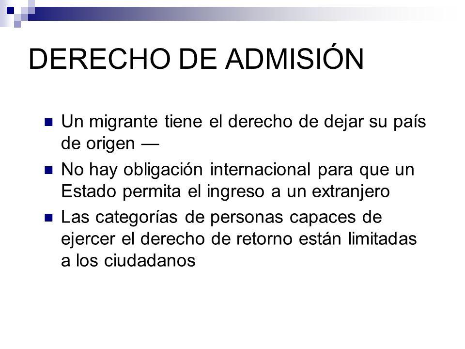 DERECHO DE ADMISIÓN Un migrante tiene el derecho de dejar su país de origen —