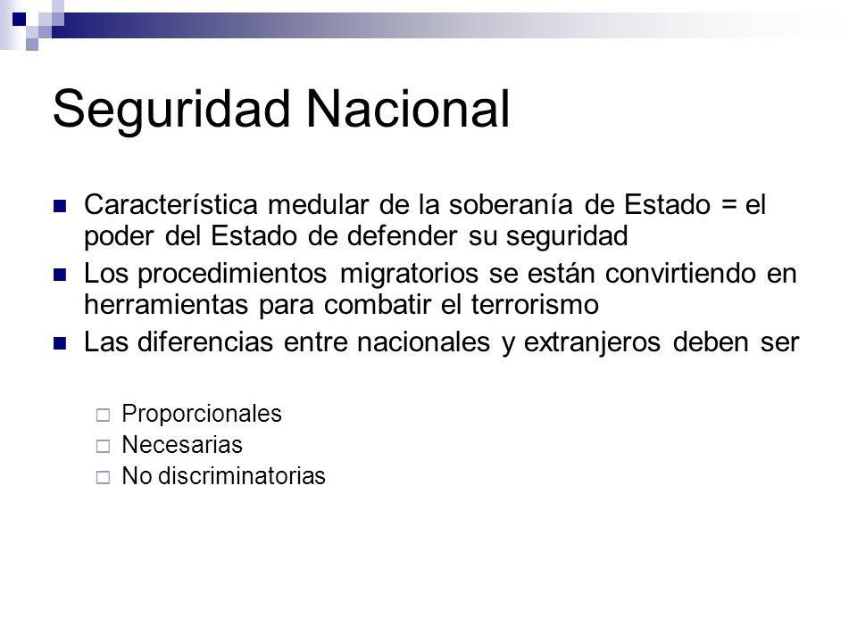 Seguridad Nacional Característica medular de la soberanía de Estado = el poder del Estado de defender su seguridad.