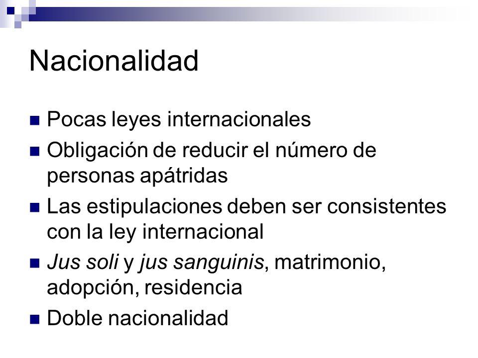 Nacionalidad Pocas leyes internacionales