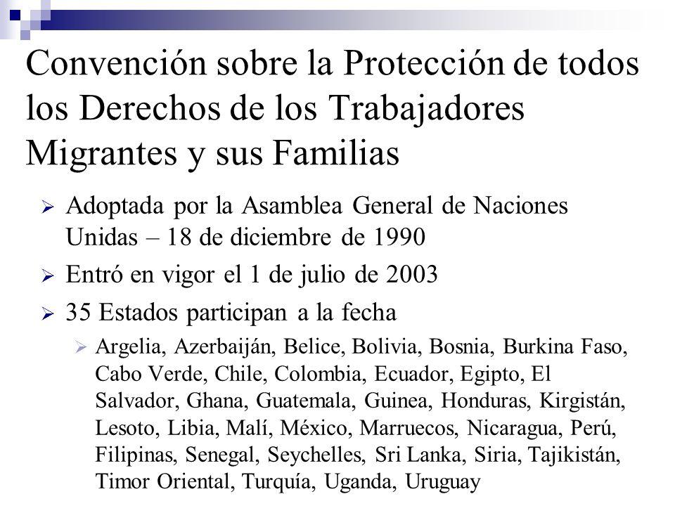 Convención sobre la Protección de todos los Derechos de los Trabajadores Migrantes y sus Familias