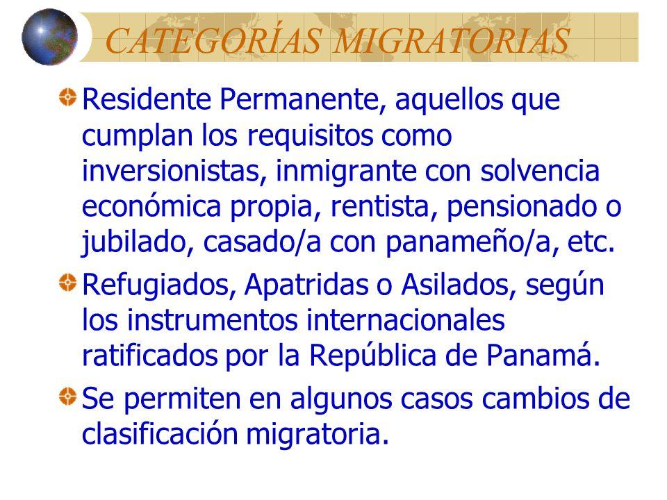 CATEGORÍAS MIGRATORIAS