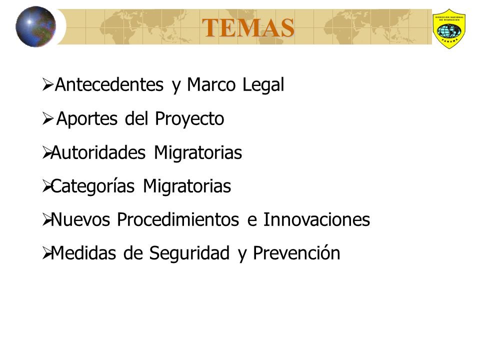 TEMAS Antecedentes y Marco Legal Aportes del Proyecto