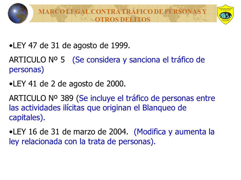 MARCO LEGAL CONTRA TRÁFICO DE PERSONAS Y OTROS DELITOS