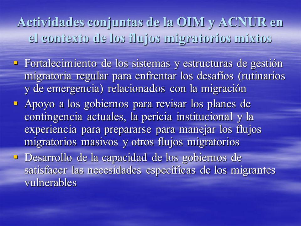 Actividades conjuntas de la OIM y ACNUR en el contexto de los flujos migratorios mixtos