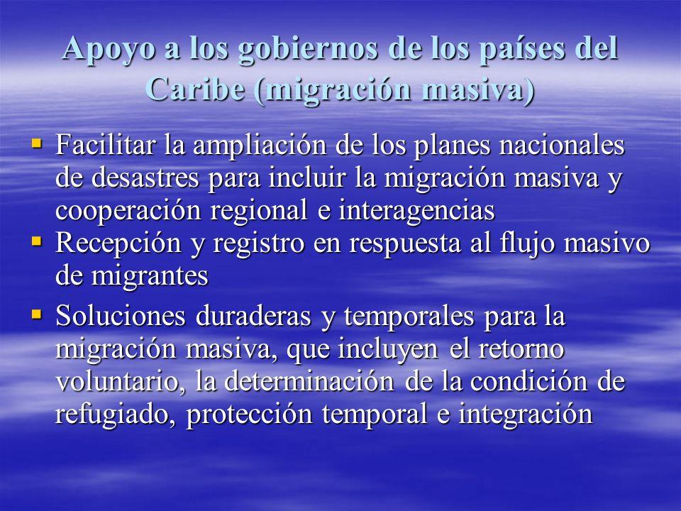 Apoyo a los gobiernos de los países del Caribe (migración masiva)