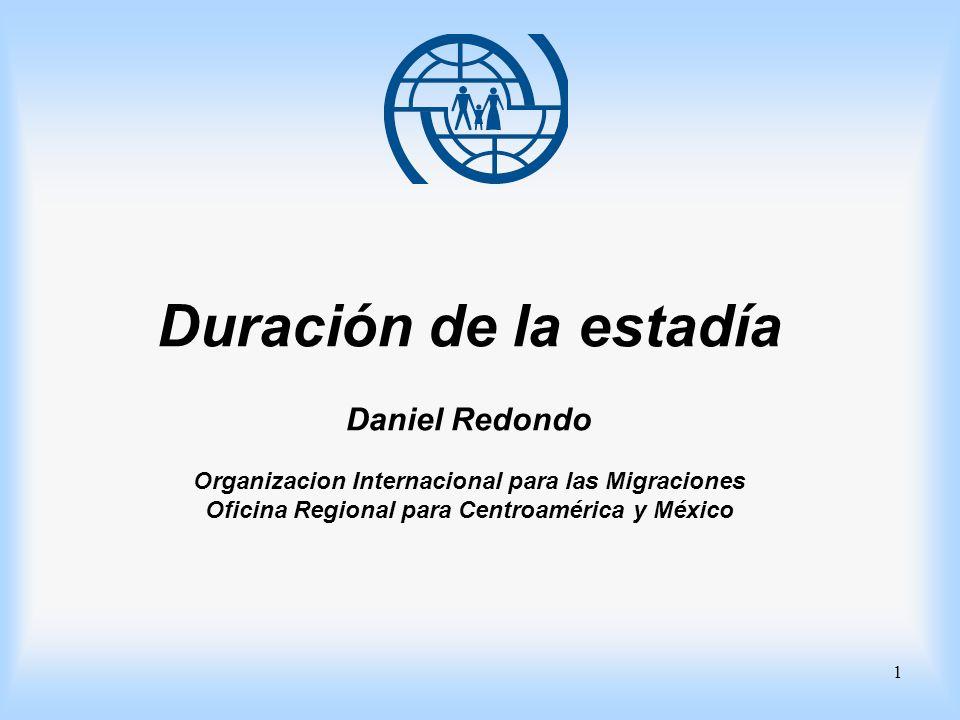 Duración de la estadía Daniel Redondo Organizacion Internacional para las Migraciones Oficina Regional para Centroamérica y México