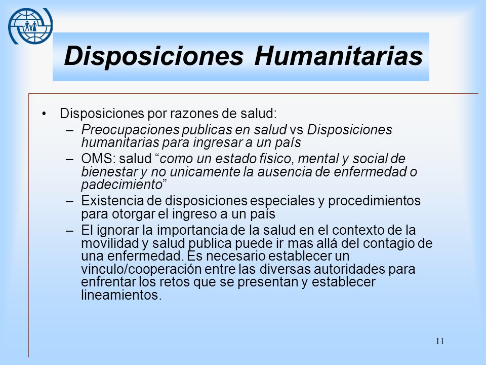 Disposiciones Humanitarias