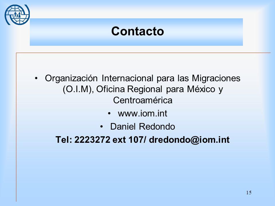 Tel: 2223272 ext 107/ dredondo@iom.int