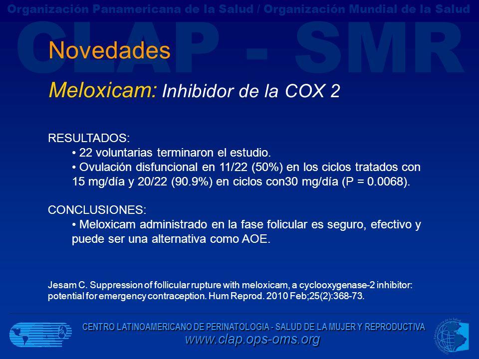 Novedades Meloxicam: Inhibidor de la COX 2 RESULTADOS: