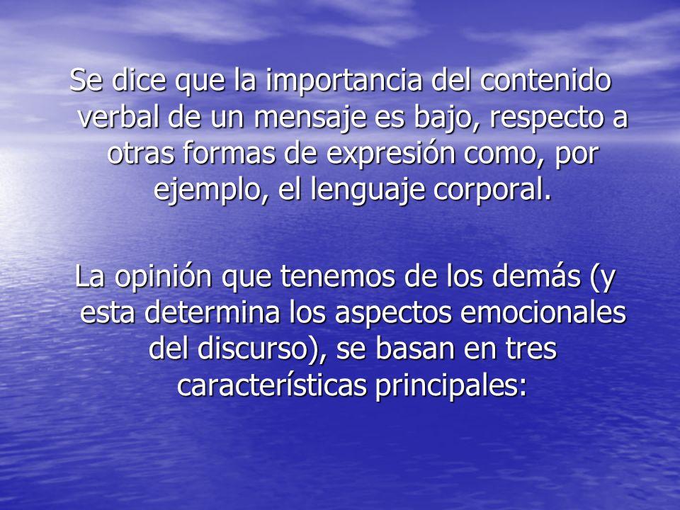 Se dice que la importancia del contenido verbal de un mensaje es bajo, respecto a otras formas de expresión como, por ejemplo, el lenguaje corporal.