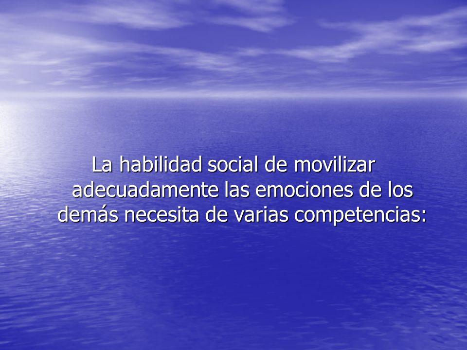La habilidad social de movilizar adecuadamente las emociones de los demás necesita de varias competencias: