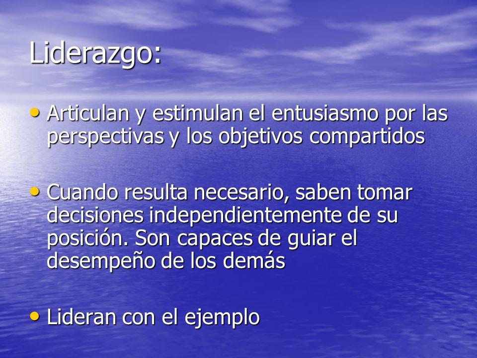 Liderazgo: Articulan y estimulan el entusiasmo por las perspectivas y los objetivos compartidos.