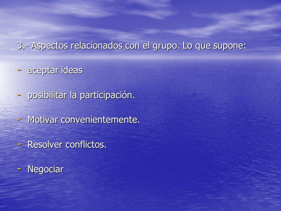 3.- Aspectos relacionados con el grupo. Lo que supone: