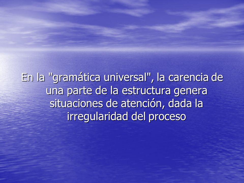 En la gramática universal , la carencia de una parte de la estructura genera situaciones de atención, dada la irregularidad del proceso