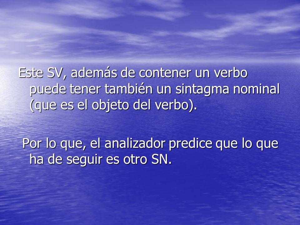 Este SV, además de contener un verbo puede tener también un sintagma nominal (que es el objeto del verbo).
