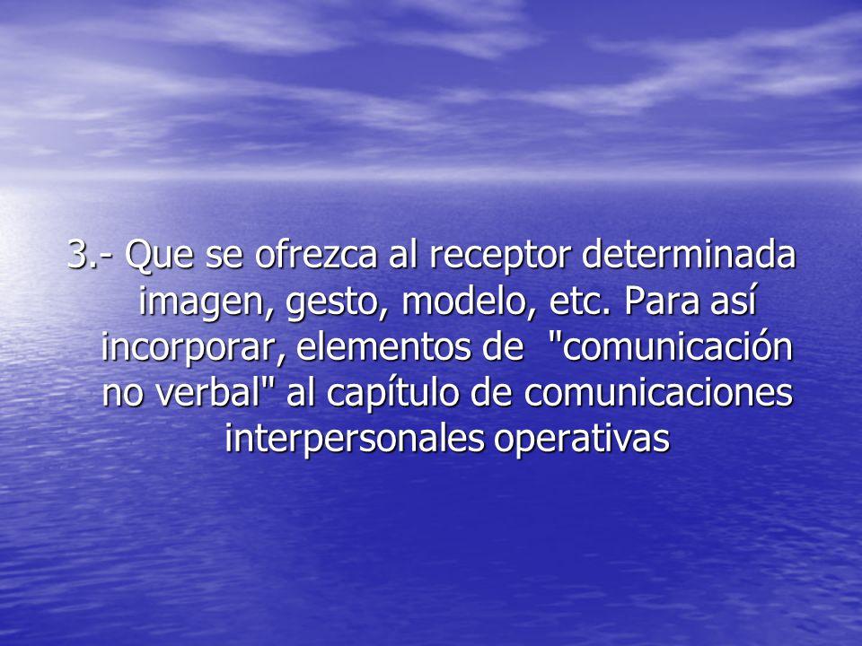 3. - Que se ofrezca al receptor determinada imagen, gesto, modelo, etc