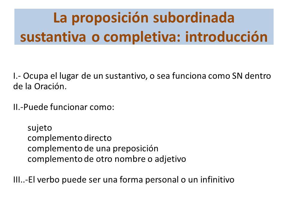 La proposición subordinada sustantiva o completiva: introducción